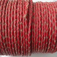 Round Braided Leather Cords - 3 mm