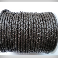 Round Braided Leather Cords - 5 mm