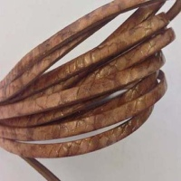 Real Italian Leather - Flat Cords - Snake Style with Glitter