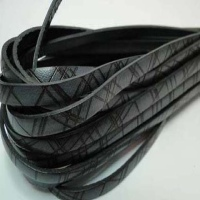 Real Italian Leather - Flat Cords  with Crossed Lines Design