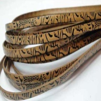 Real Italian Leather - Flat Cords with Maya Patterns - 5 mm