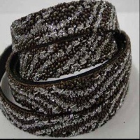 Real Nappa Leather - Flat Laces with Glitter - 10 mm