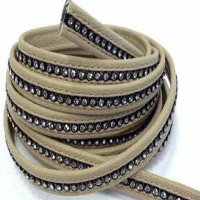 Real Nappa Leather - Flat Laces with Swarovski Crystals - 6 mm and 10mm  sizes