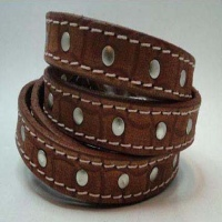 Vintage Style Flat Leather - Plain Style; with Studs and Stitches