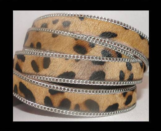 Hair-on leather with Chain-Leopard Skin-14mm