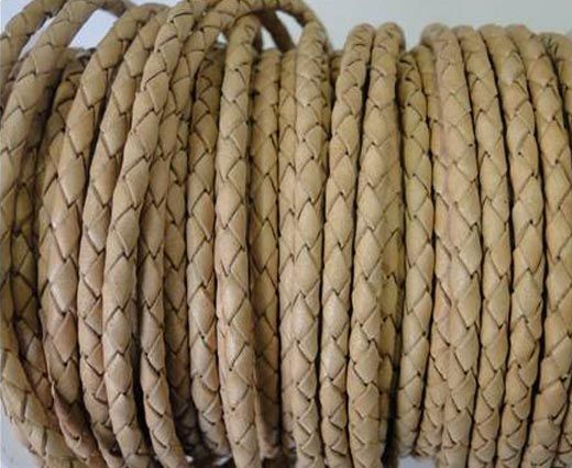 Round Braided Leather Cord SE/B/01 - Natural-3mm