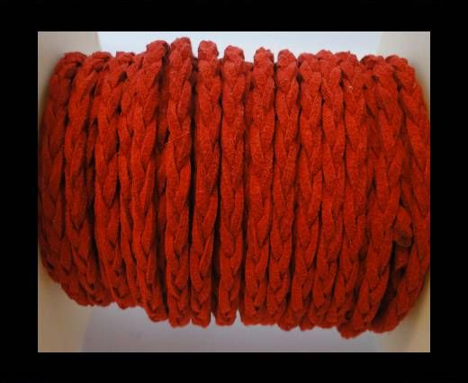 Braided Suede Cords -Red-5mm