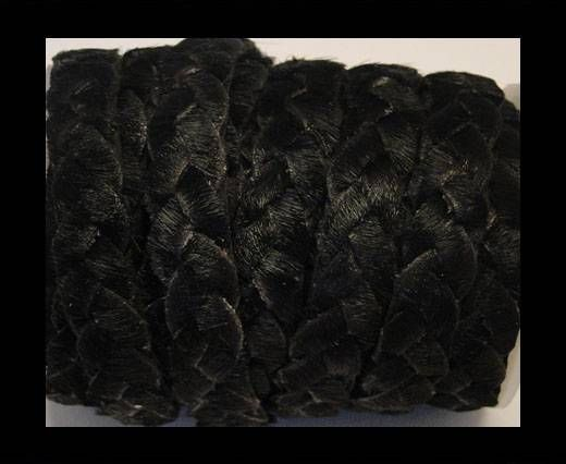 Braided Flat Hair-on Leather-Black