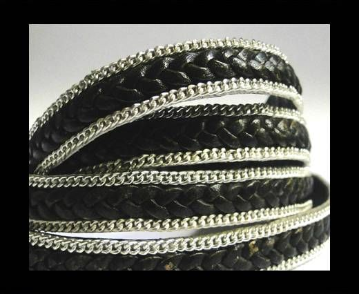 Flat Braided 3 ply with Silver chain - 10mm - Black matt look