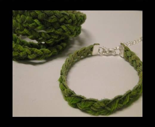 Braided Round Hair-on Leather-Green-5mm