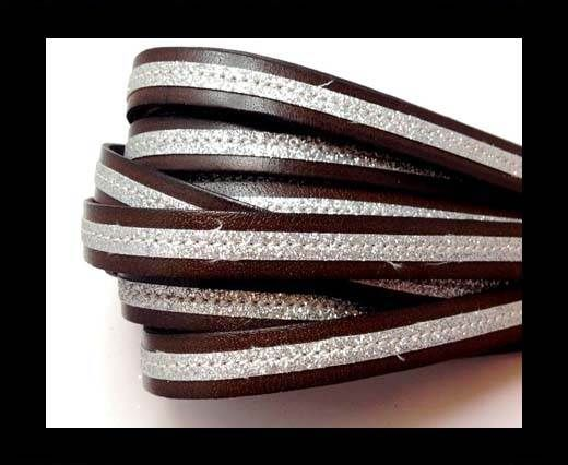 Flat Leather- With Glitter -10mm- Browm Glitter Silver