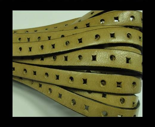 Flat Leather Cords With Square Holes-10mm-Light Brown