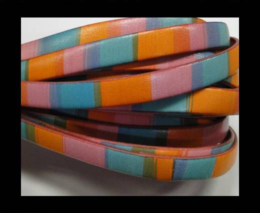 Flat Leather Cord-10mm-Stripes pink