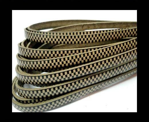 Flat Leather Cords - Chess Style - 5mm-Taupe