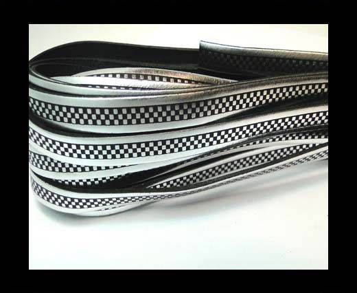 Flat Leather Cords - Chess Style - 10mm-Argento