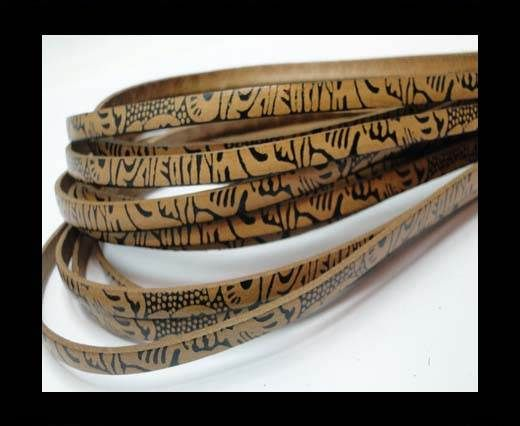 Flat Leather Cords - Maya Style - 5mm -Natural