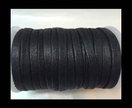 Flat Wax Cotton Cords - 3mm - Black