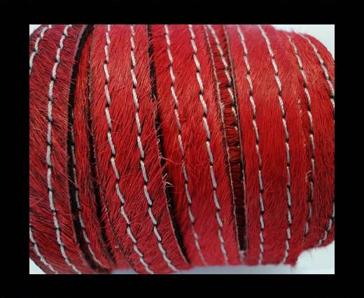 Hair-On Leather with Stitch-Red-10mm