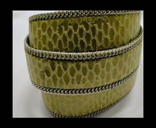 Hair-on leather with Chain - 14 mm - Snake Grass green