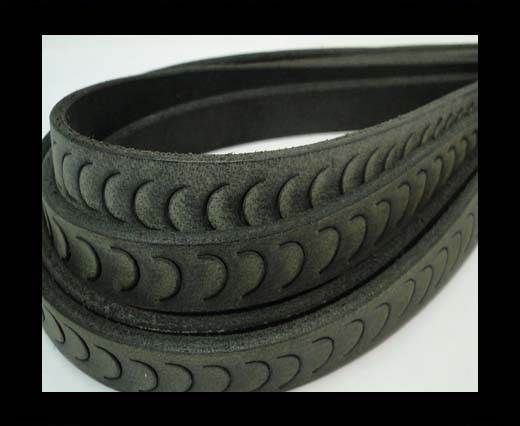 Vintage Style Flat Leather-Fish Style-14mm-Black