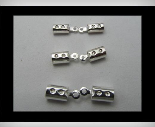 Leather End Caps FI7010 - Silver - 2mm