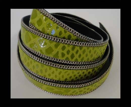 Leather with snake print - silver chain-14mm-SE-PS-17