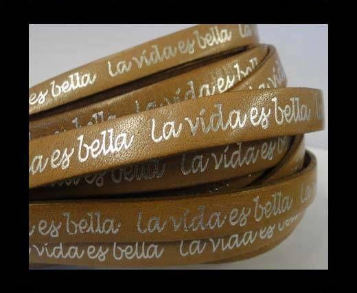 Real Flat Leather-10mm-La Vida Es Bella -Natural 2 with Silver e