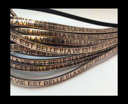 Real Flat Leather-LA VIE EST BELLE-Metallic Rose Gold