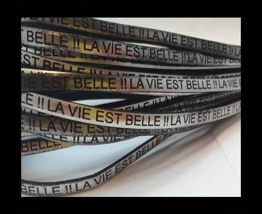 Real Flat Leather-LA VIE EST BELLE-Metallic Silver