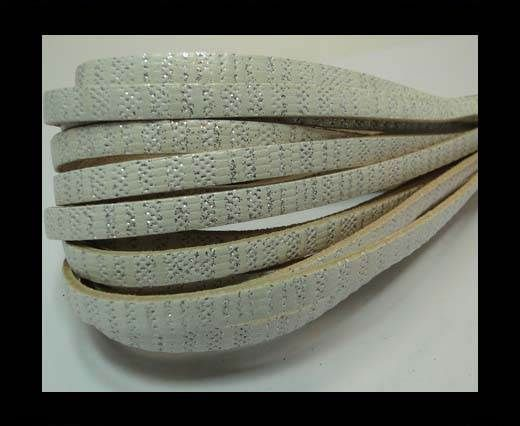 Real Flat Nappa Leather-5mm-White with glitter
