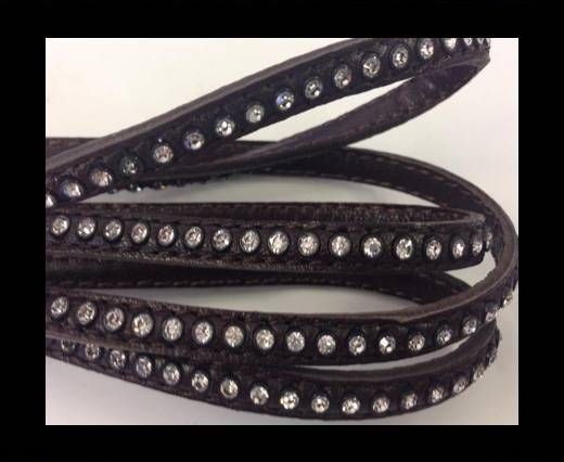 Real Nappa Flat Leather with swarovski crystals-6mm-Dark brown
