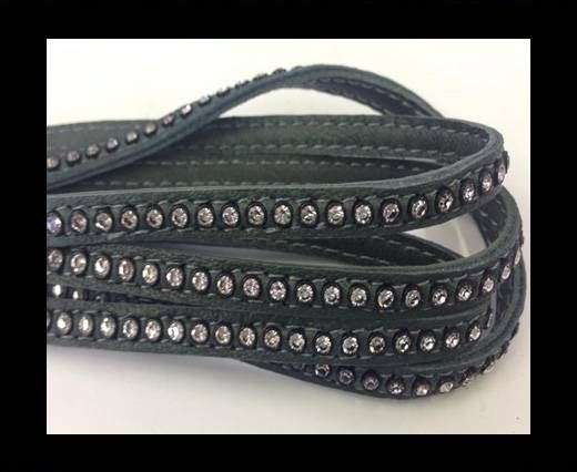 Real Nappa Flat Leather with swarovski crystals-6mm-Military Gre