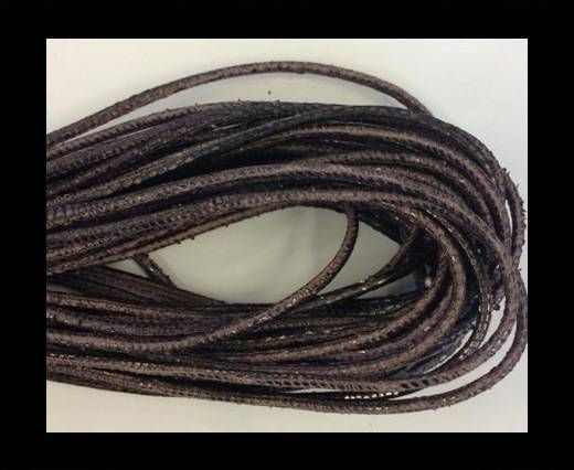 Real Nappa Leather Round-2.5MM-Snake style-antique grey