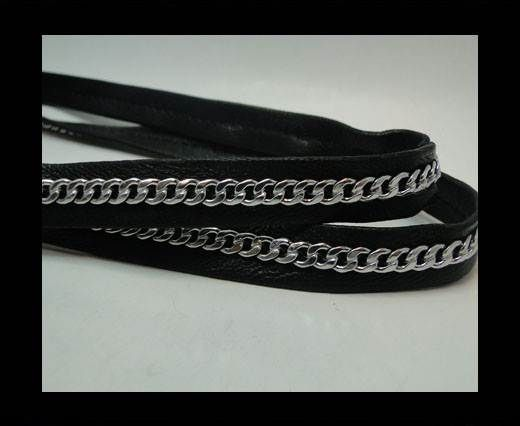 Real Nappa Leather Chain Stitched-10mm-Single-Black