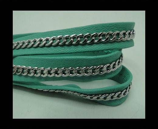 Real Nappa Leather Chain Stitched-10mm-Single-Acquamarine