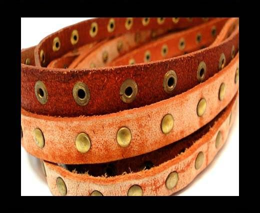 Real Nappa Leather with studs-10mm-vintage Orange