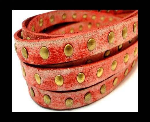 Real Nappa Leather with studs-10mm-VIntage Red