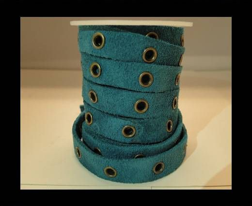 Real Suede Leather with Rivet -Turquoise-10mm