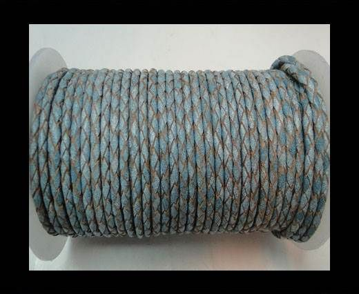 Round Braided Leather Cord-Turquoise White-3mm