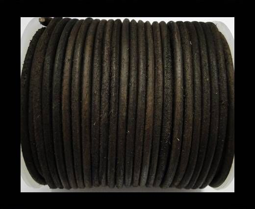 Round Leather Cord Oily Brown -4mm