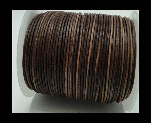 Round Leather Cord -1mm- Vintage Cognec