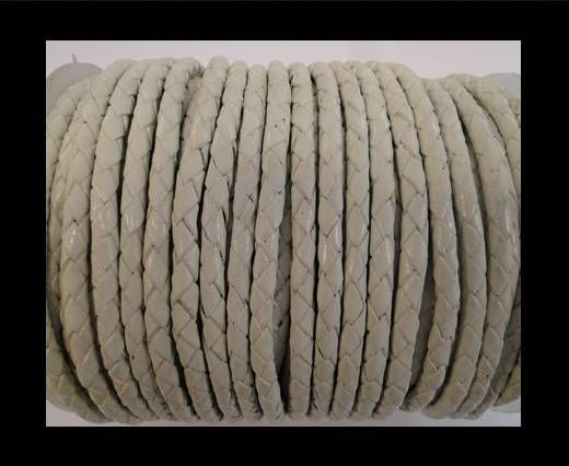 Round Braided Leather Cord SE/B/05-White - 4mm