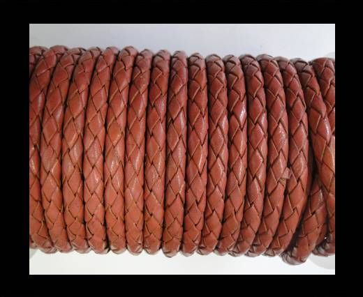 Round Braided Leather Cord SE/B/08-Coral - 6mm