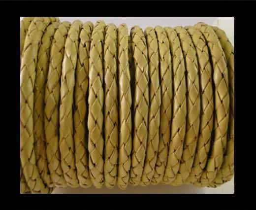 Round Braided Leather Cord SE/B/10-Lemon yellow - 5mm