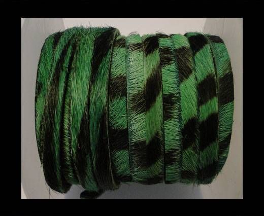 Hair-On Flat Leather-Green Zebra-5MM