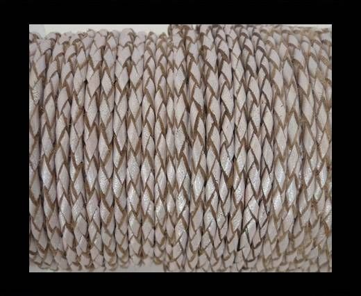 Round Braided Leather Cord SE/M/11-Metallic Salmon-8mm