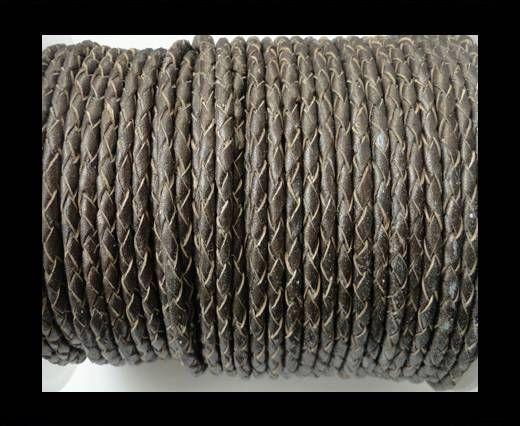 Round Braided Leather Cord SE/M/Bronze-8mm