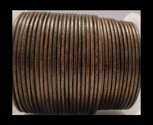 Round Leather Cord SE/R/Metallic Tamba - 3mm