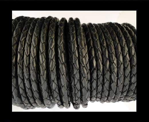 Round Braided Leather Cord SE/B/02-Black - 5mm