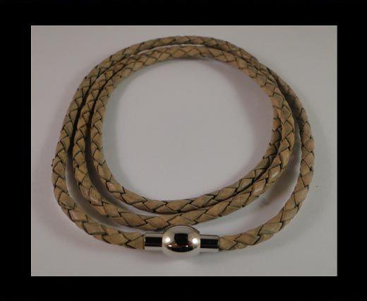 Three wrap leather bracelets SE-PB-GREY-3mm